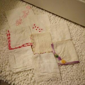 8 Vintage Crochet Edge Handkerchiefs Hankies